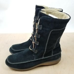 Timberland Fauna Black Suede Moccasin Lace Up Boot